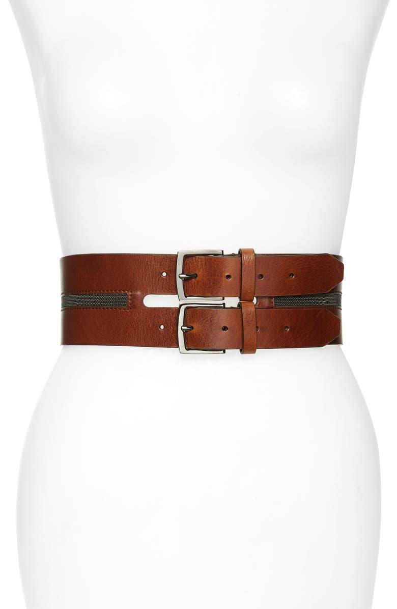 BRUNELLO CUCINELLI Monili Bead Leather Corset Belt, Main, color, 200