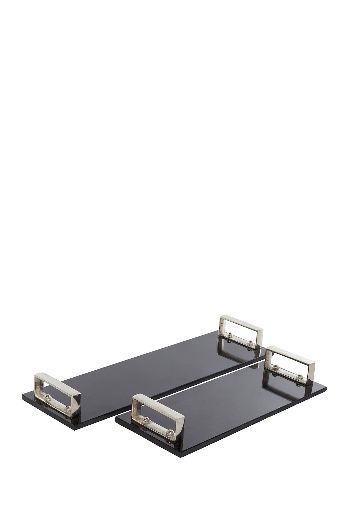 Willow Row Rectangular Flat Dark Marble Trays With Silver Aluminum Handles Set Of 2 18 24 Nordstrom Rack