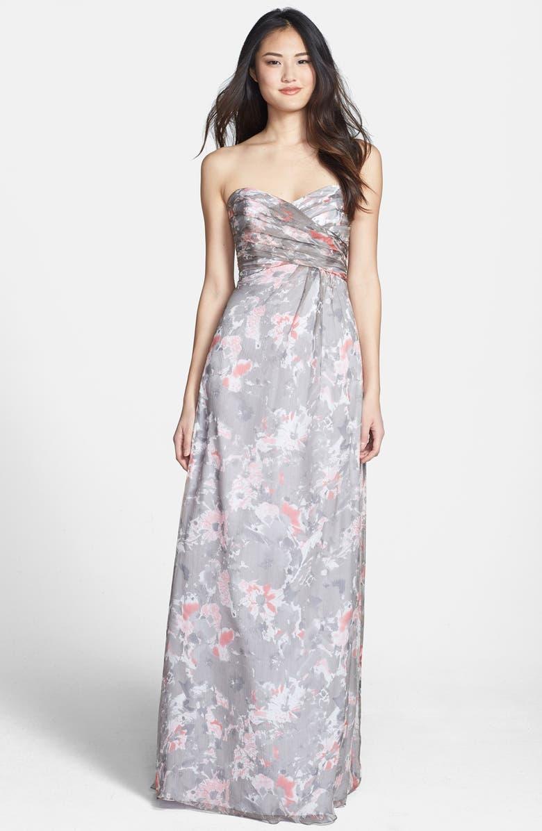 AMSALE 'Amore' Floral Print Silk Chiffon Gown, Main, color, 030