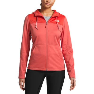 The North Face Tech Mezzaluna Water Repellent Hooded Jacket, Coral