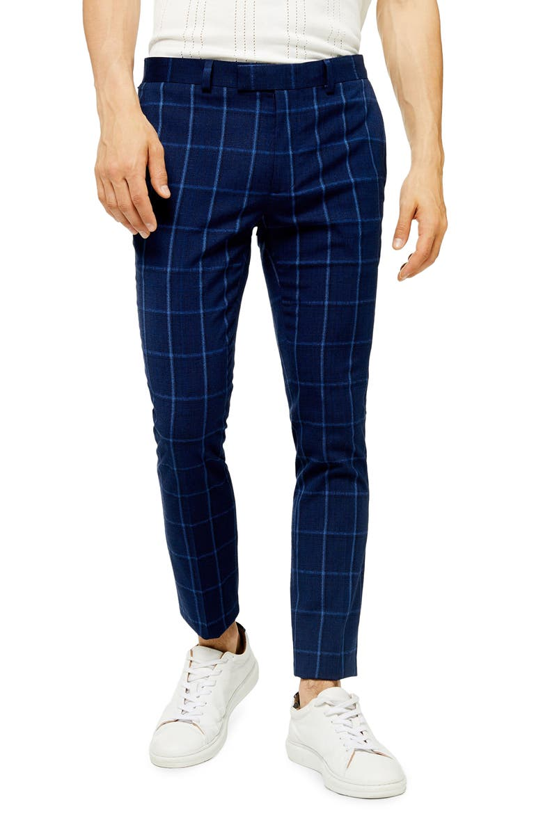 TOPMAN Page Windowpane Check Super Skinny Dress Pants, Main, color, BLUE