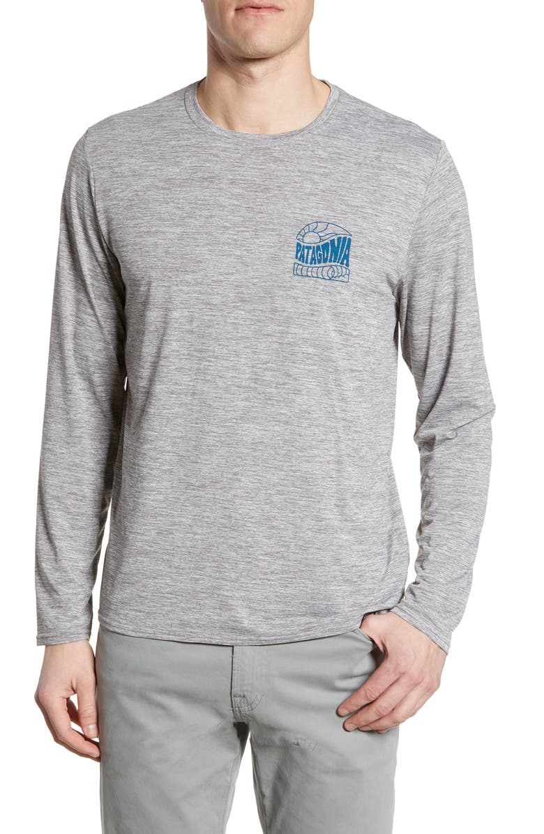 PATAGONIA Capilene<sup>®</sup> Cool Daily Long Sleeve T-Shirt, Main, color, COSMIC PEAKS FEATHER GREY