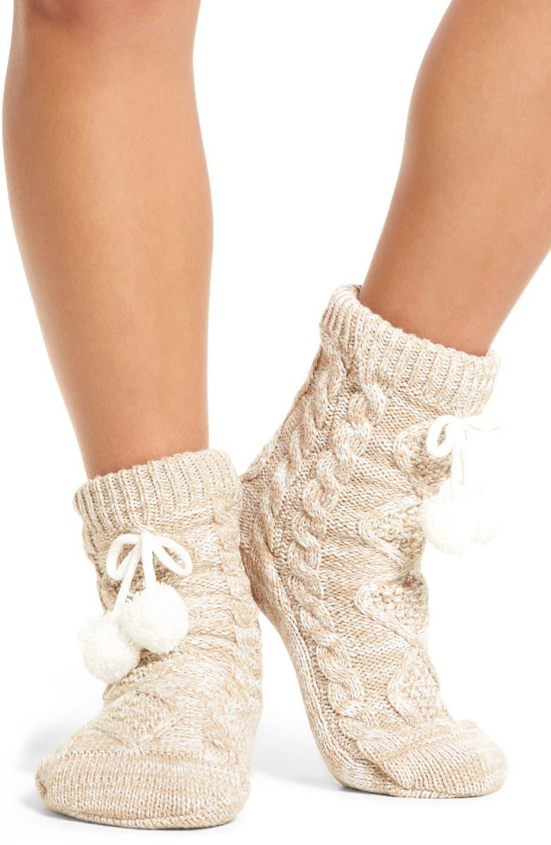 UGG<SUP>®</SUP> Pom Pom Fleece Lined Socks, Main, color, CREAM