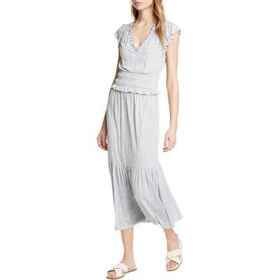Rebecca Taylor Smock Waist Jersey Midi Dress, Grey