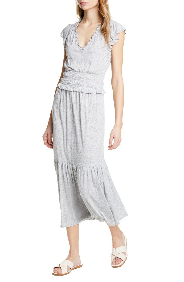 REBECCA TAYLOR Smock Waist Jersey Midi Dress, Main, color, 021