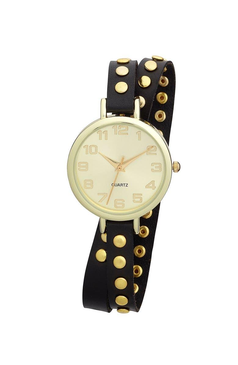 TITANIUM Studded Double Wrap Watch, 35mm, Main, color, 001