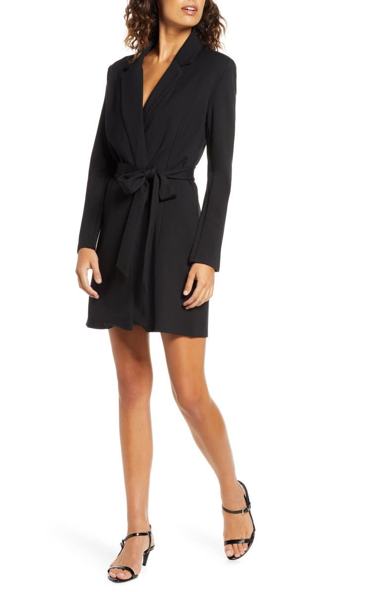 FRENCH CONNECTION Sadira Wrap Dress, Main, color, BLACK