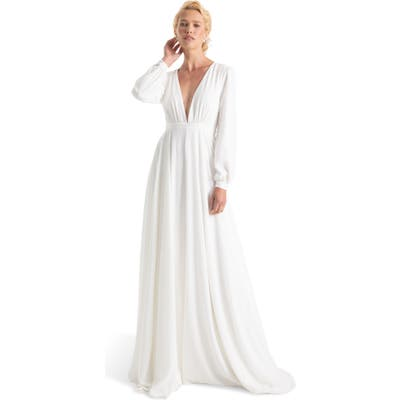 Joanna August Floyd V-Neck Long Sleeve Gown, White