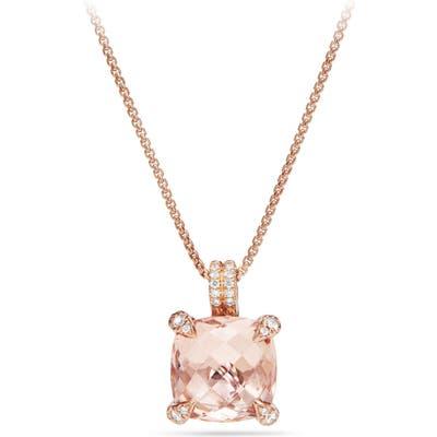 David Yurman Chatelaine Diamond & Morganite Pendant Necklace