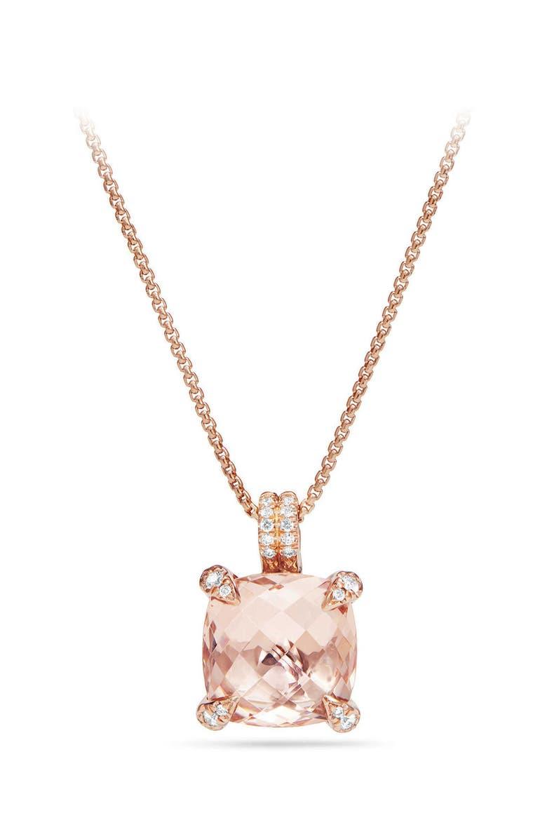 DAVID YURMAN Chatelaine Diamond & Morganite Pendant Necklace, Main, color, ROSE GOLD/ DIAMOND/ MORGANITE