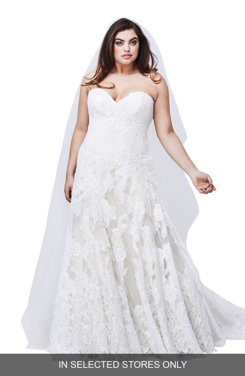 Watters Lyric Strapless Lace Gown Plus Size