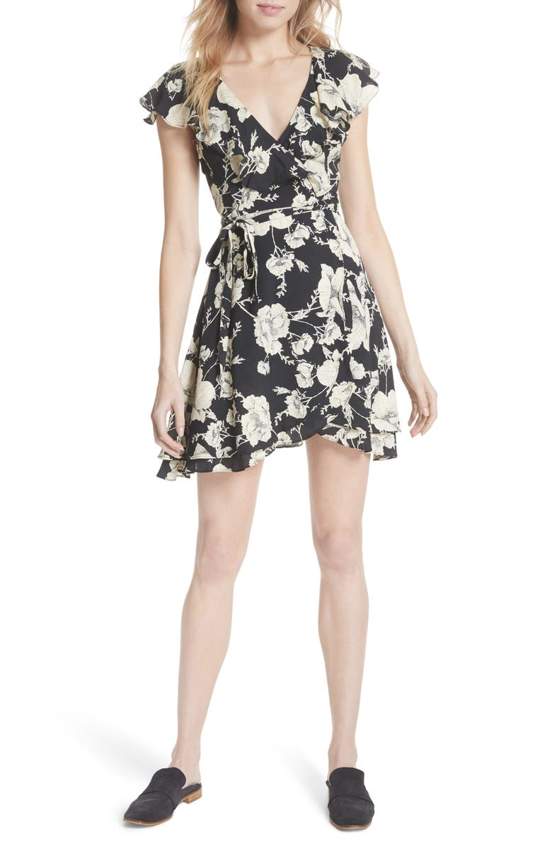 FREE PEOPLE French Quarter Print Wrap Minidress, Main, color, BLACK