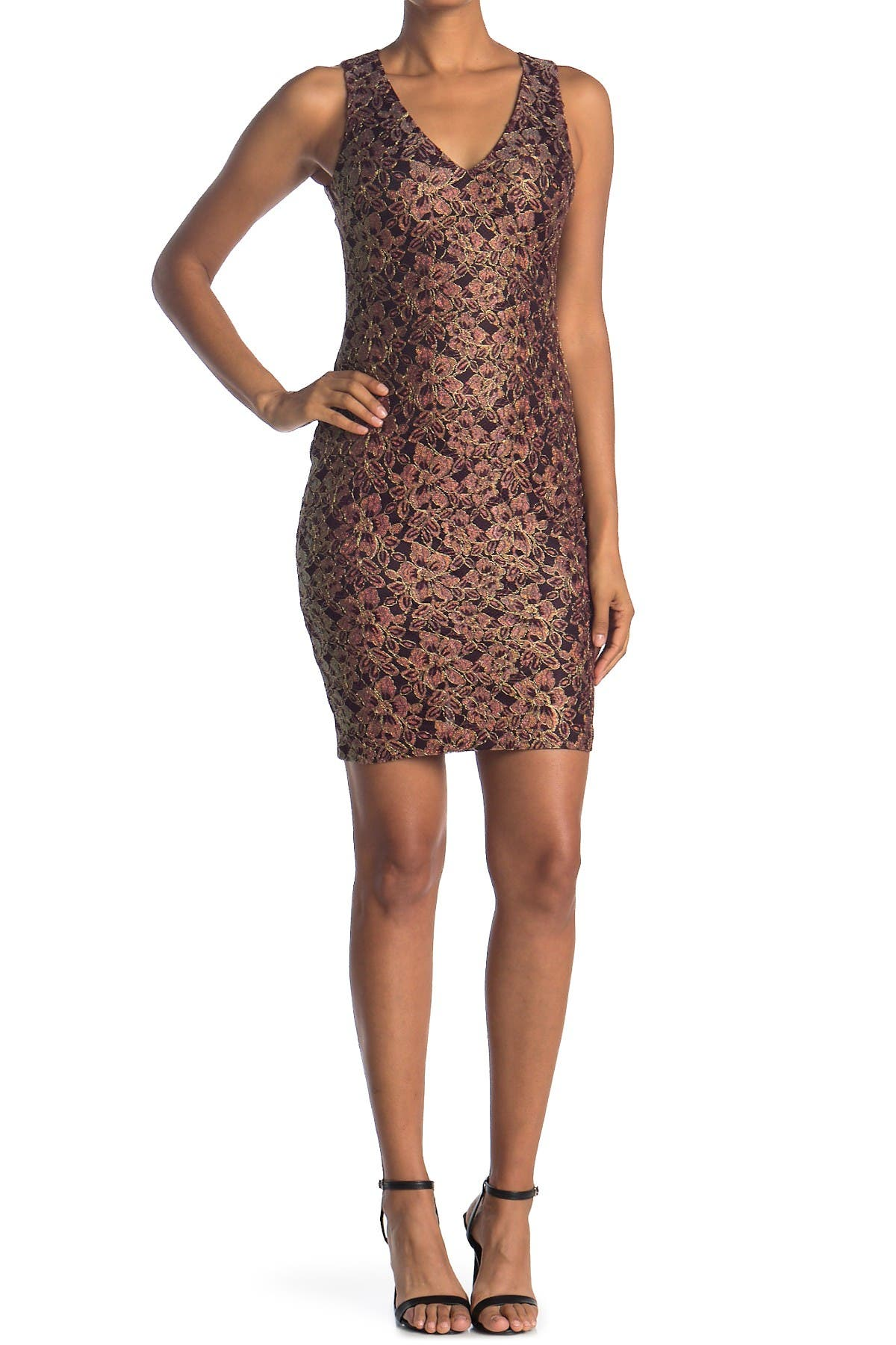 Image of GUESS V-Neck Lace Bodycon Dress