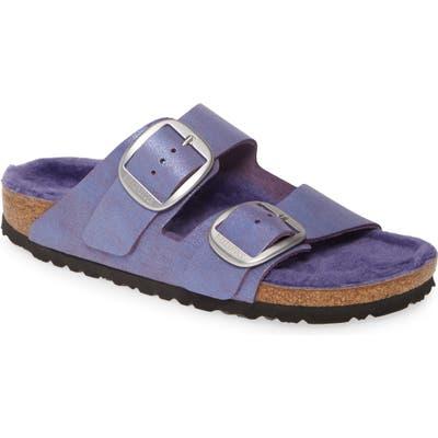 Birkenstock Perfect Pairs Arizona Big Buckle Sandal With Genuine Shearling Lining, Purple