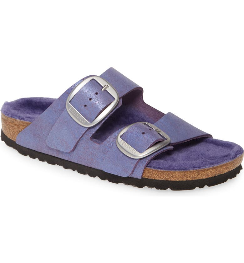 BIRKENSTOCK Perfect Pairs Arizona Big Buckle Sandal with Genuine Shearling Lining, Main, color, WASHED METALLIC VIOLET LEATHER