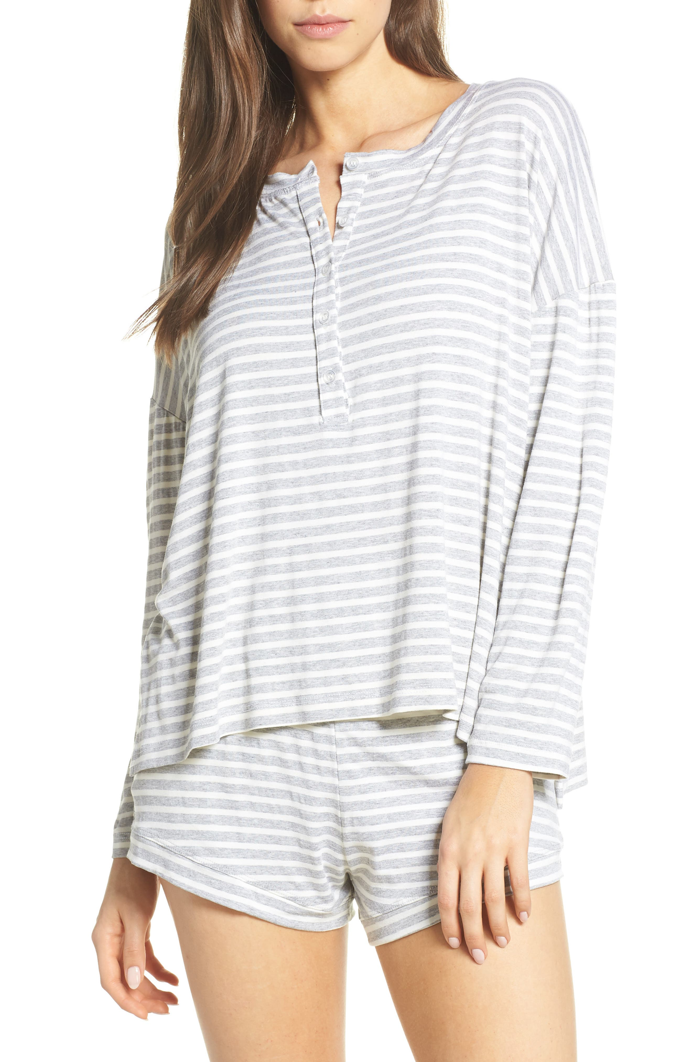 Maison Du Soir Courtney Stripe Pajama Top, Grey