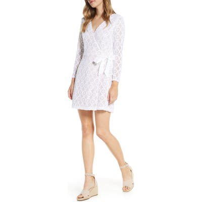 Lilly Pulitzer Tiki Long Sleeve Lace Faux Wrap Romper, White