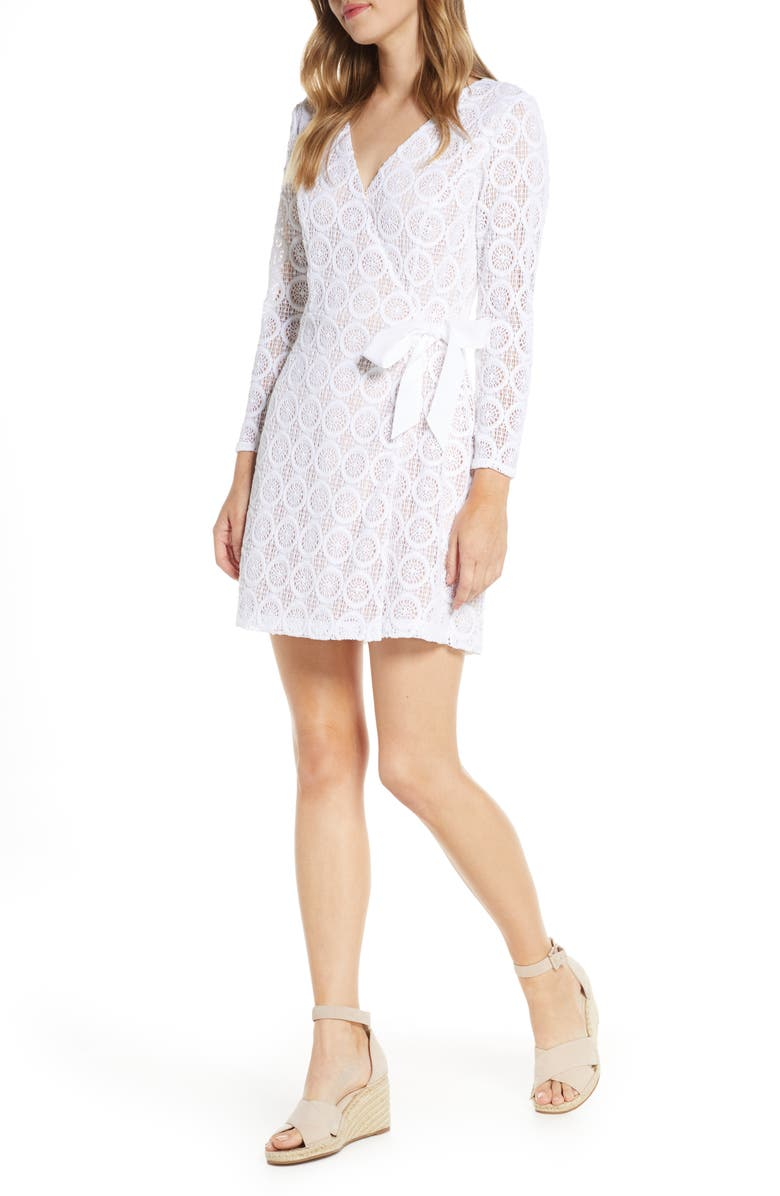 LILLY PULITZER<SUP>®</SUP> Tiki Long Sleeve Lace Faux Wrap Romper, Main, color, RESORT WHITE ZANZIBAR LACE