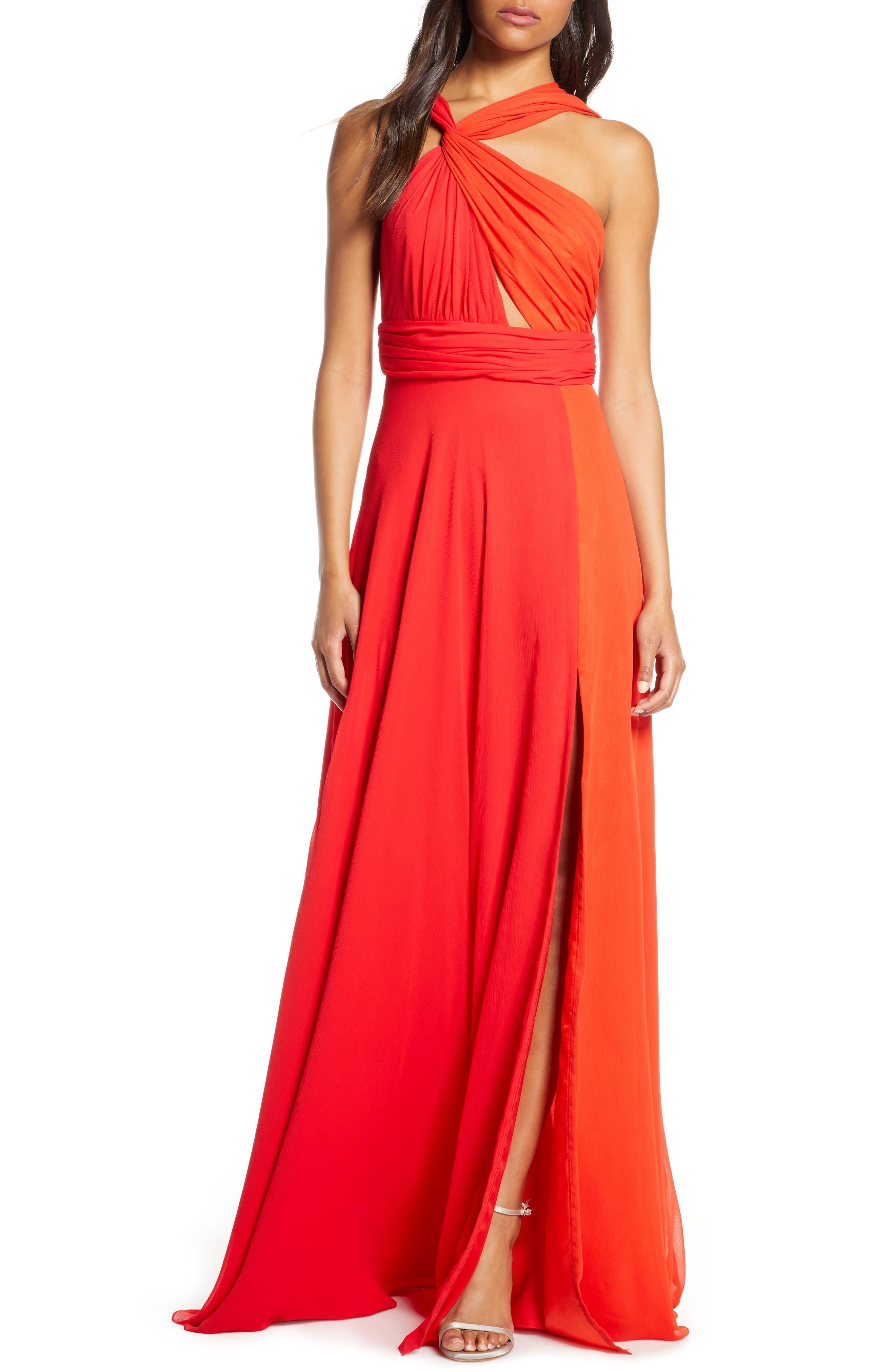 Jill Jill Stuart Two-Tone Twist Neck Chiffon Evening Gown, Red
