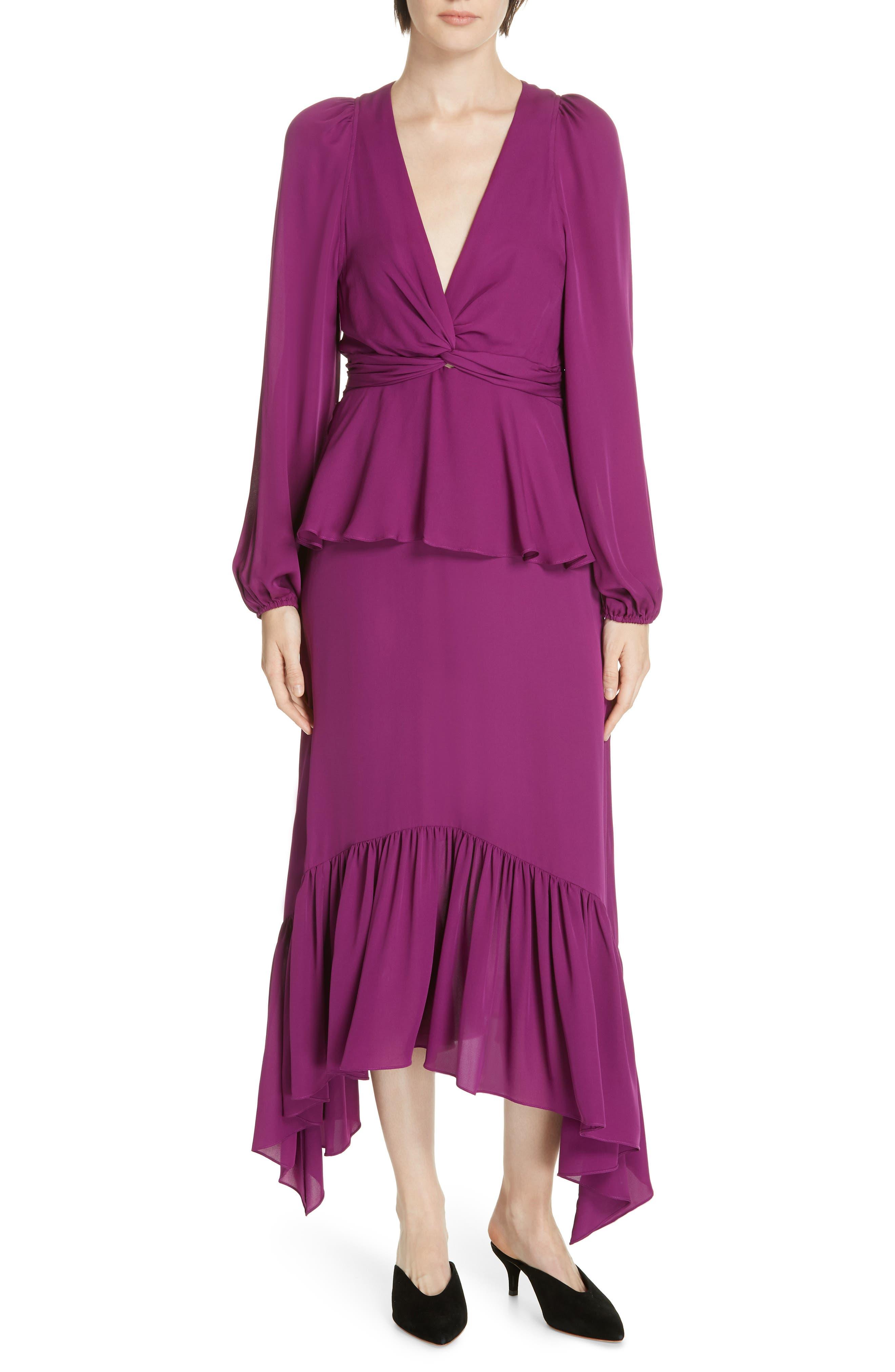 Stanwyck Ruffle Silk Dress, Main, color, 500