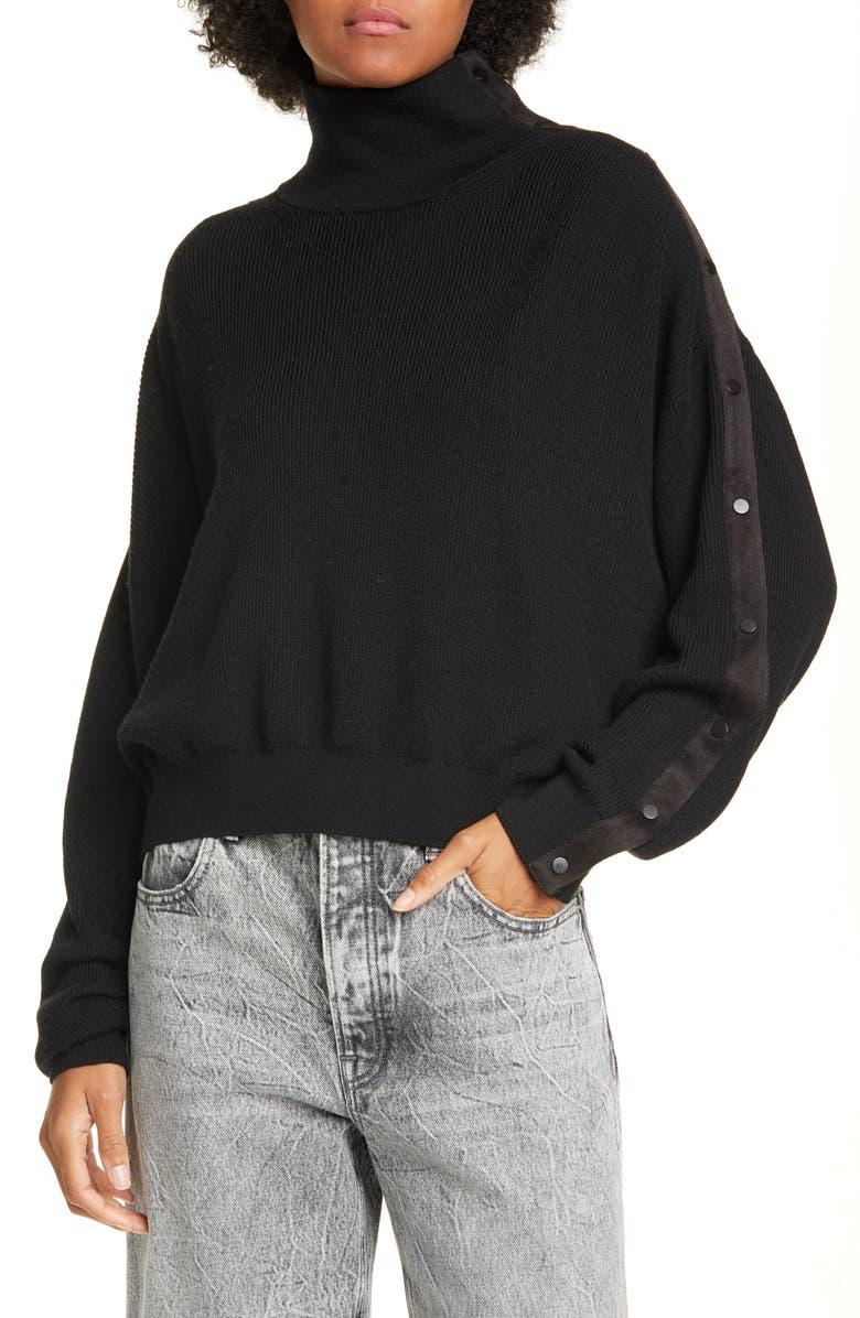 ALEXANDERWANG.T alexander wang.t Convertible Snap Turtleneck Merino Wool Sweater, Main, color, 001