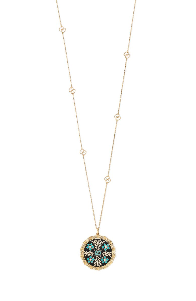 GUCCI Icon Blooms Enamel Pendant Necklace, Main, color, YELLOW GOLD