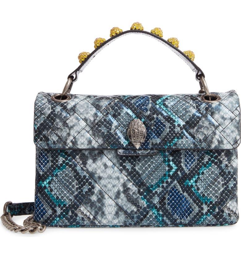 KURT GEIGER LONDON Kensington X Snake Embossed Leather Shoulder Bag, Main, color, MID BLUE