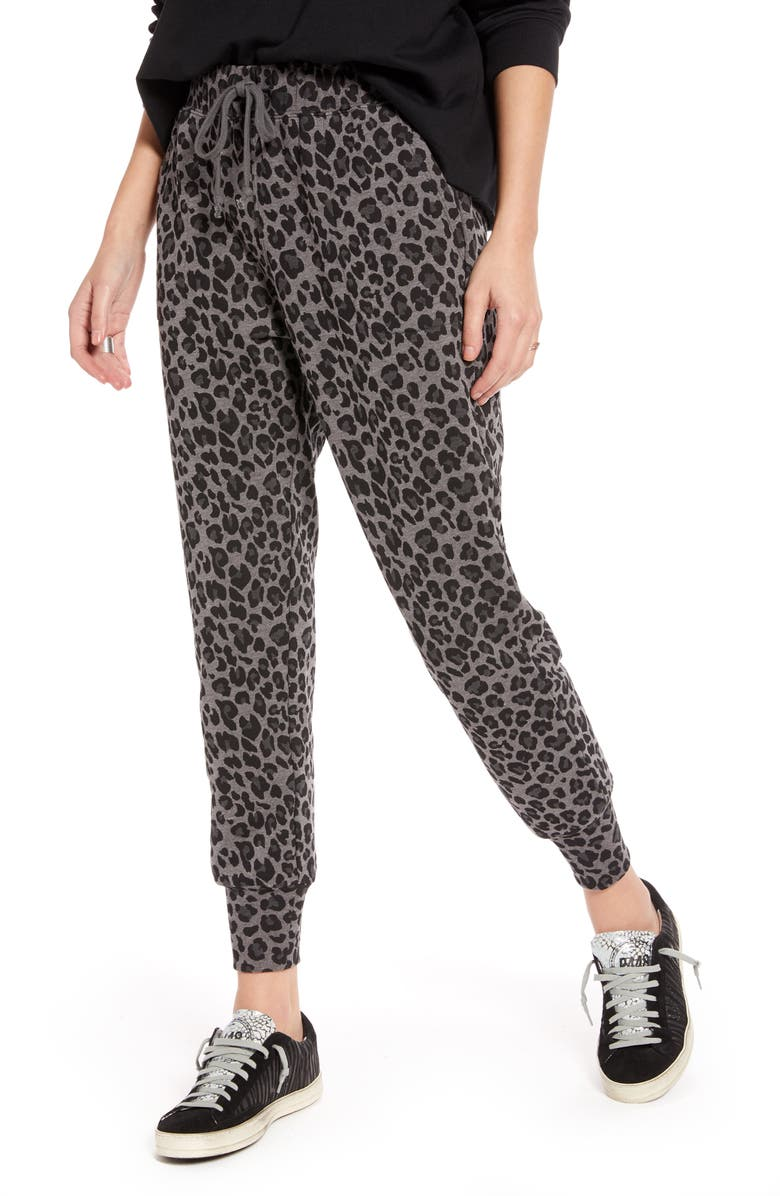 TREASURE & BOND Leopard Print Jogger Pants, Main, color, GREY- BLACK LEOPARD