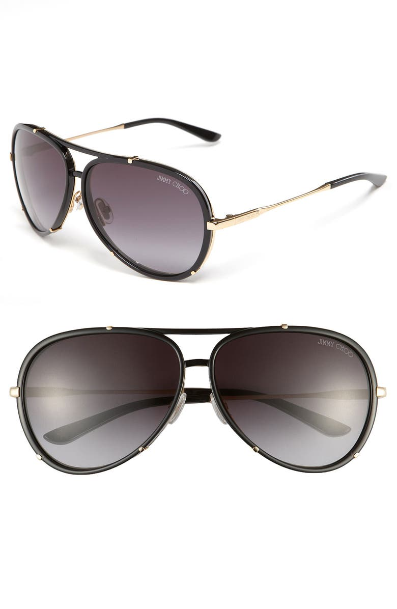 JIMMY CHOO 'Terrence' 62mm Aviator Sunglasses, Main, color, 001