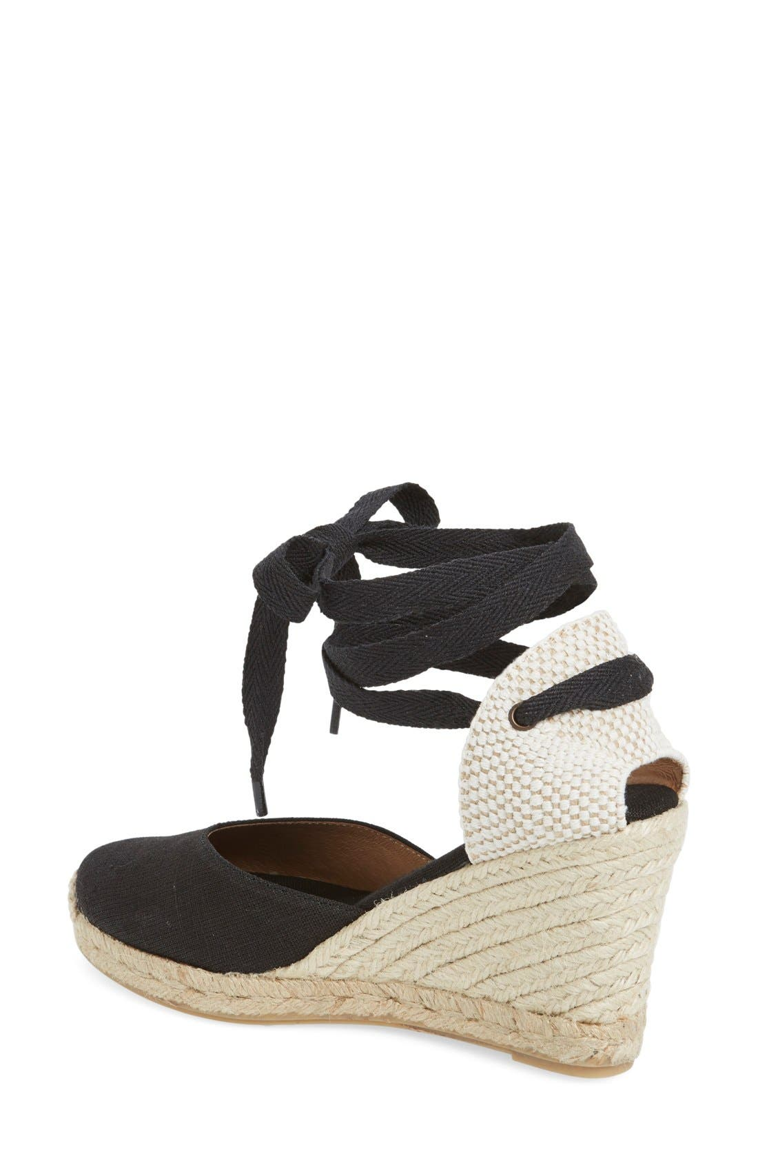,                             Wedge Lace-Up Espadrille Sandal,                             Alternate thumbnail 2, color,                             BLACK