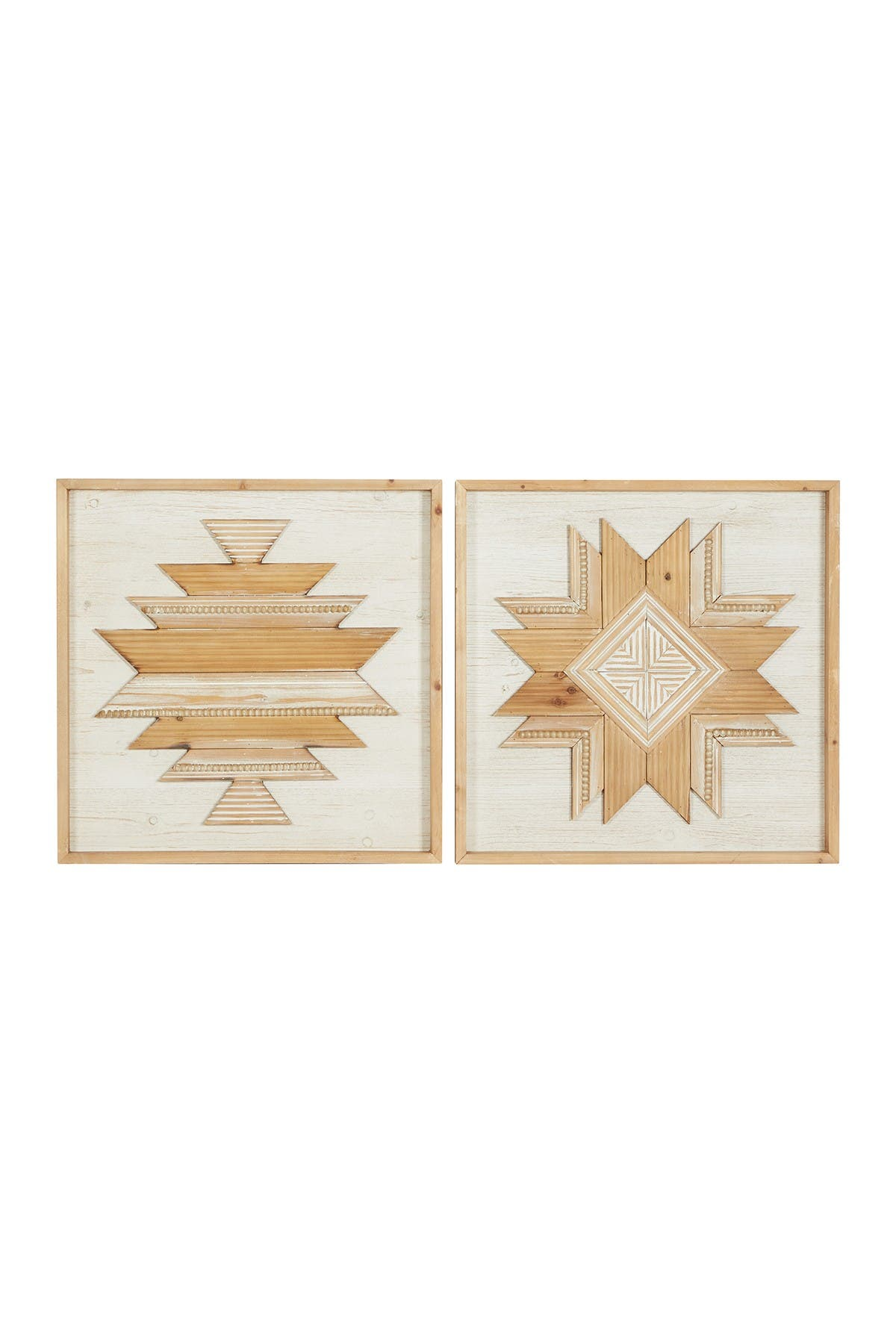 """Image of Willow Row Carved Square 2 Panel Wood Wall Decor - 24"""" X 24"""" - Set of 2"""