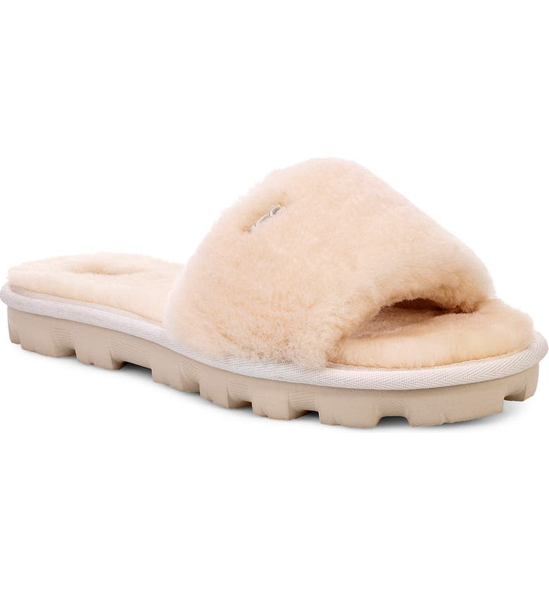 UGG<SUP>®</SUP> Cozette Genuine Shearling Slide, Main, color, NATURAL