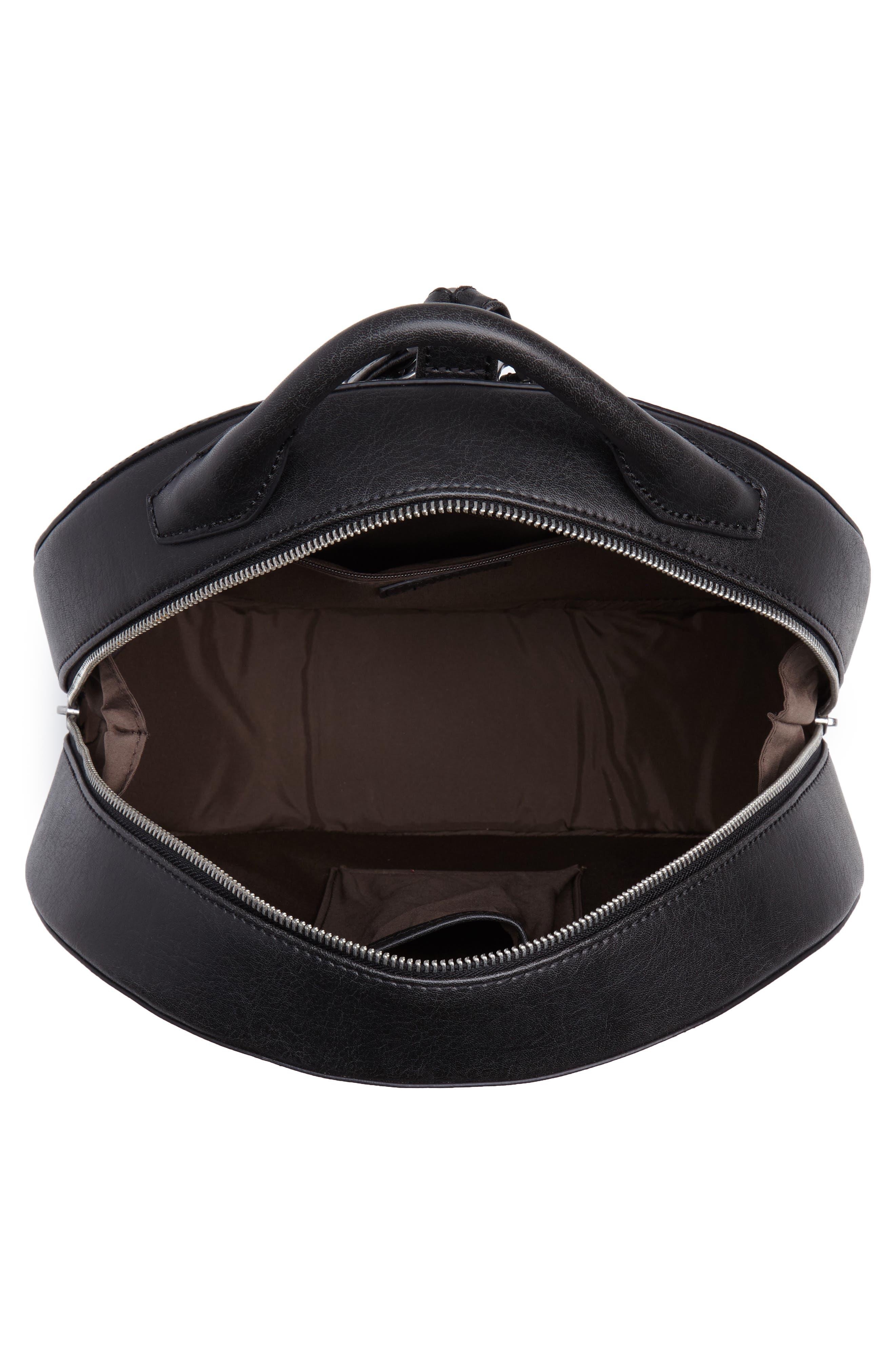 ,                             Kiara Faux Leather Circle Backpack,                             Alternate thumbnail 5, color,                             BLACK