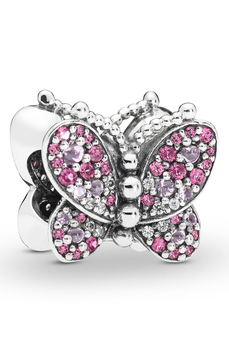 PANDORA Pink Butterfly Charm, Main, color, SILVER