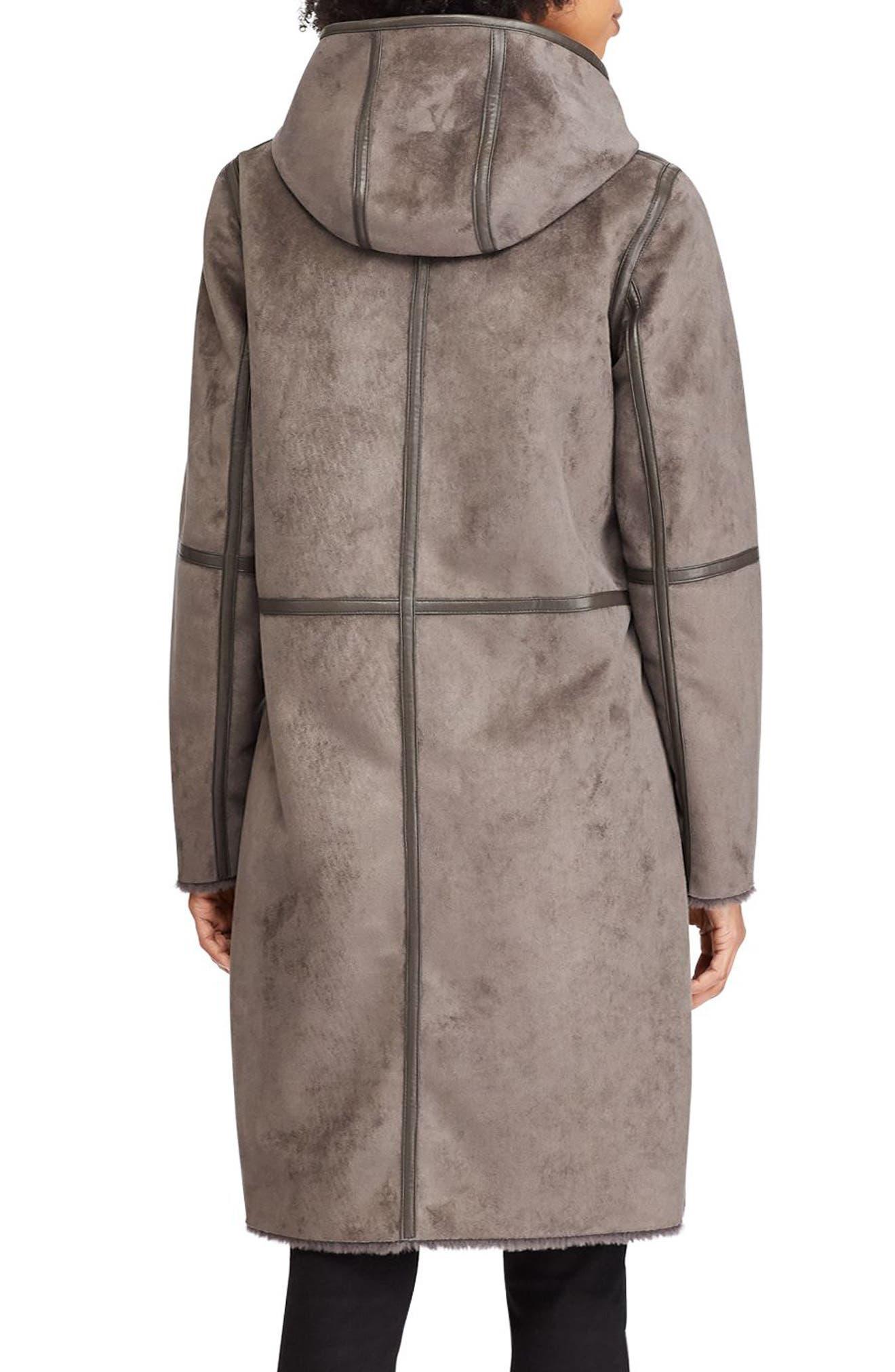 ,                             Faux Shearling Duffle Coat,                             Alternate thumbnail 4, color,                             034