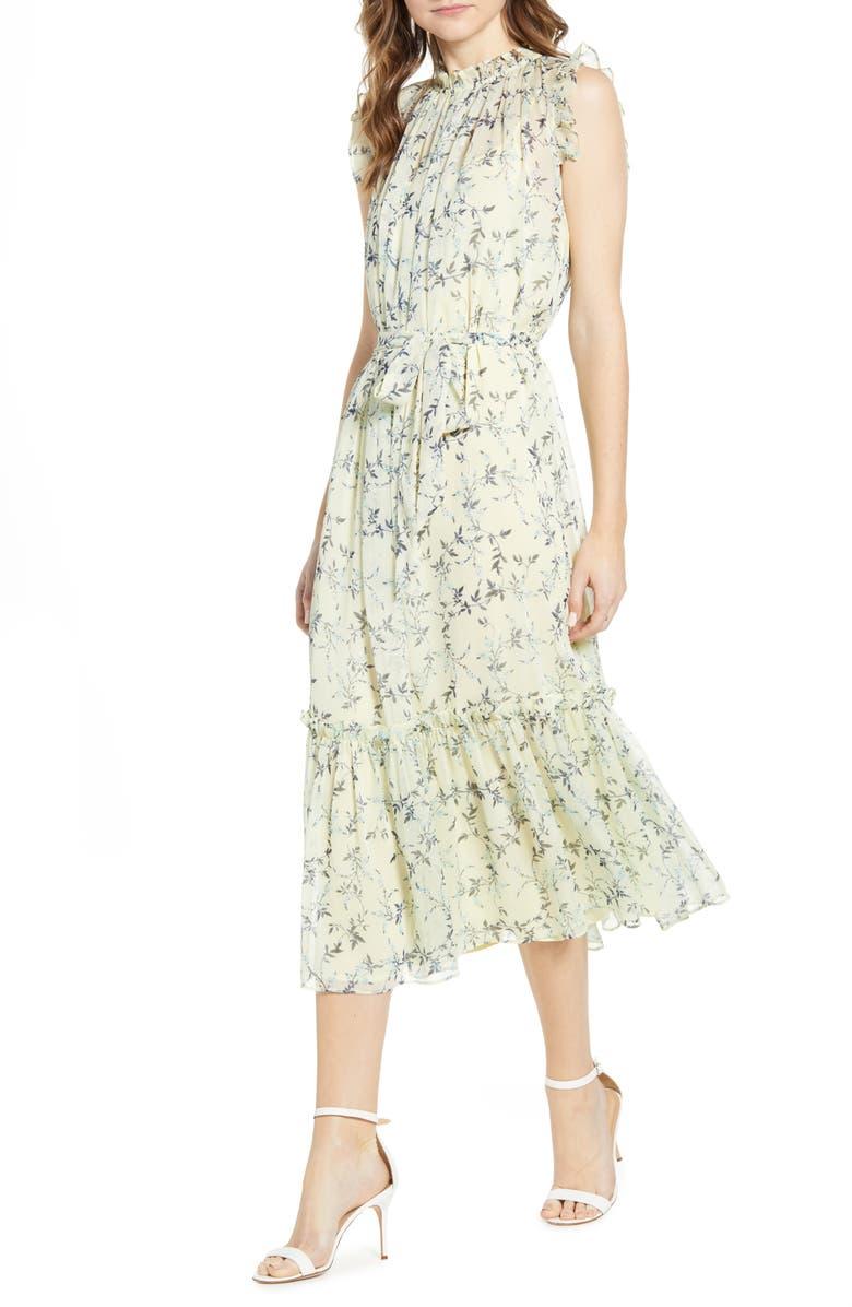 CECE Wisteria Vines Sleeveless Dress, Main, color, LEMONADE