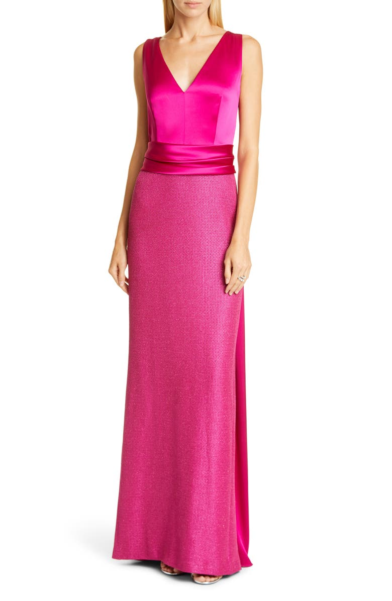 ST. JOHN EVENING Satin Bodice Textured Metallic Inlay Gown, Main, color, FUCHSIA ROSE