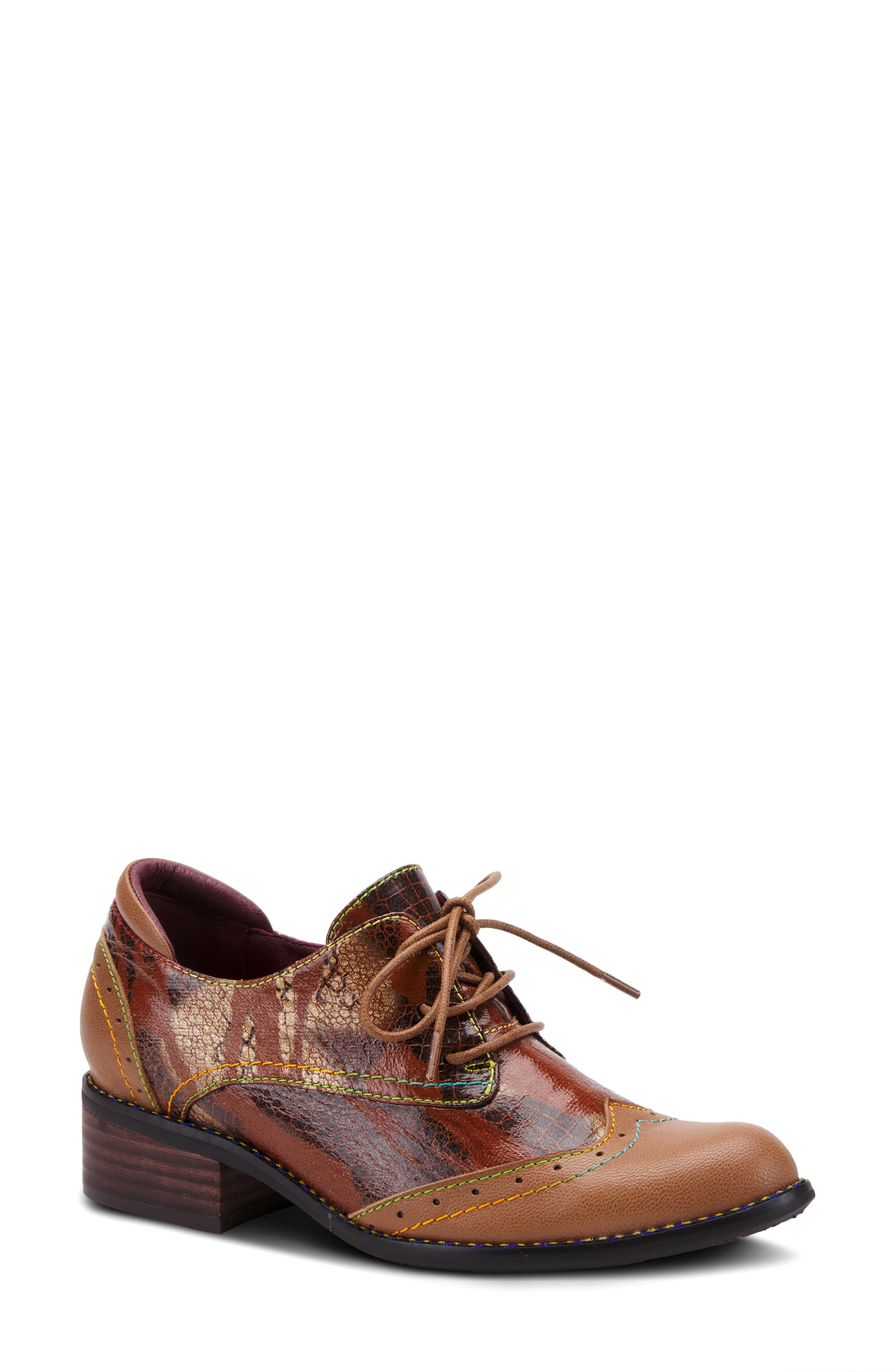Rainbow-hued topstitching and shiny snake embossing dial up the drama on this lace-up oxford fitted with a comfortably cushioned footbed. Style Name:L\\\'Artiste Elvie Oxford (Women). Style Number: 6117435. Available in stores.