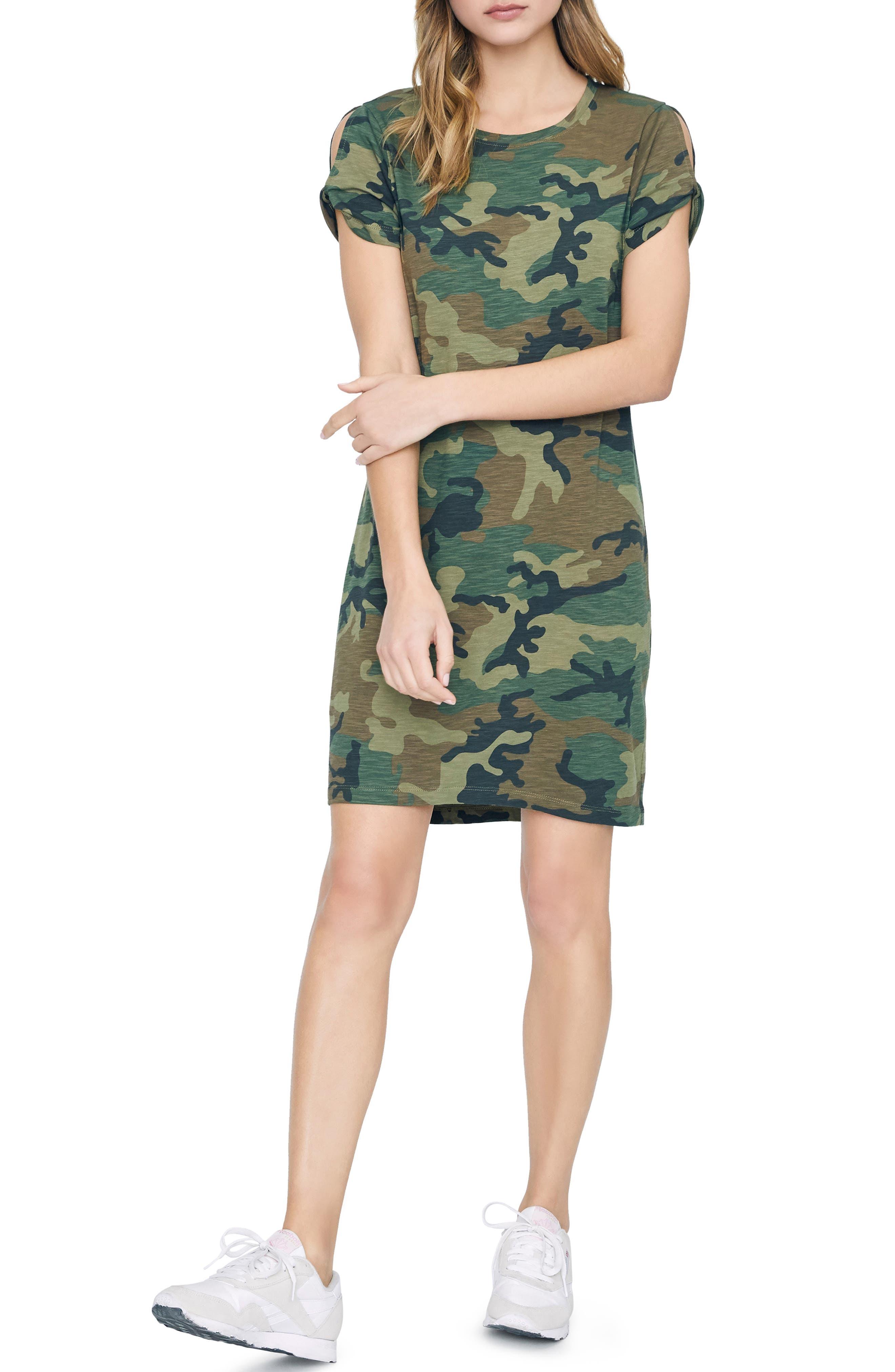 Sanctuary So Twisted Sleeve Detail Cotton Blend T-Shirt Dress, Green
