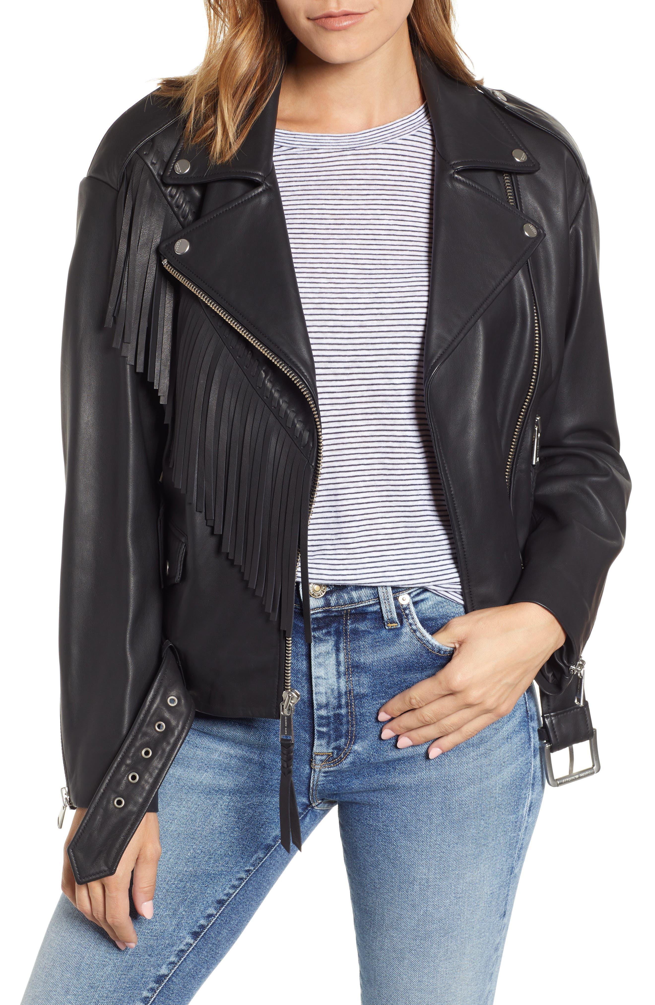 Women's Andrew Marc Fringe Leather Moto Jacket