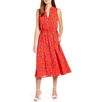 Anne Klein Tussy Mussy Sleeveless Drawstring Midi Dress, Red