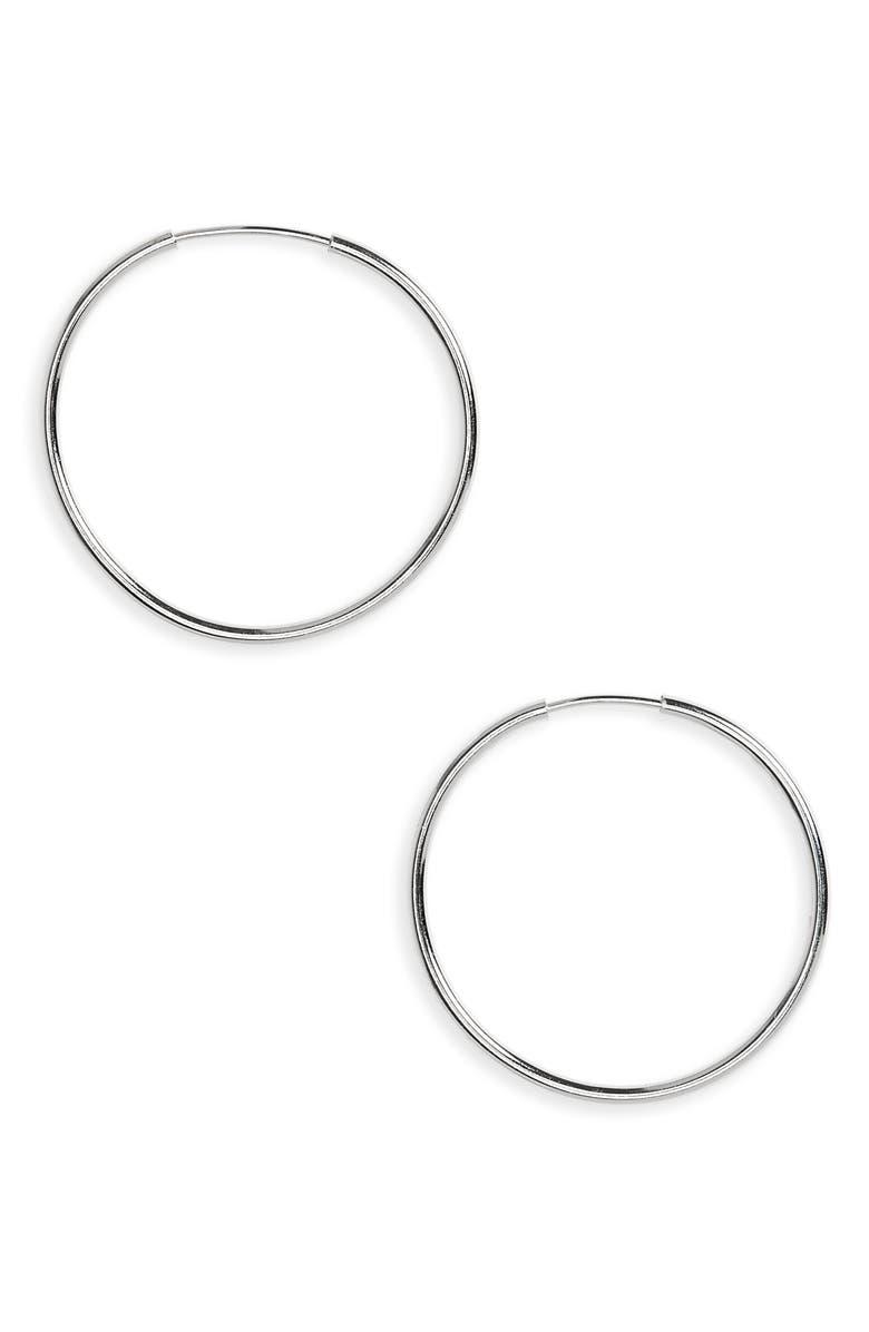 ARGENTO VIVO Endless Hoop Earrings, Main, color, SILVER