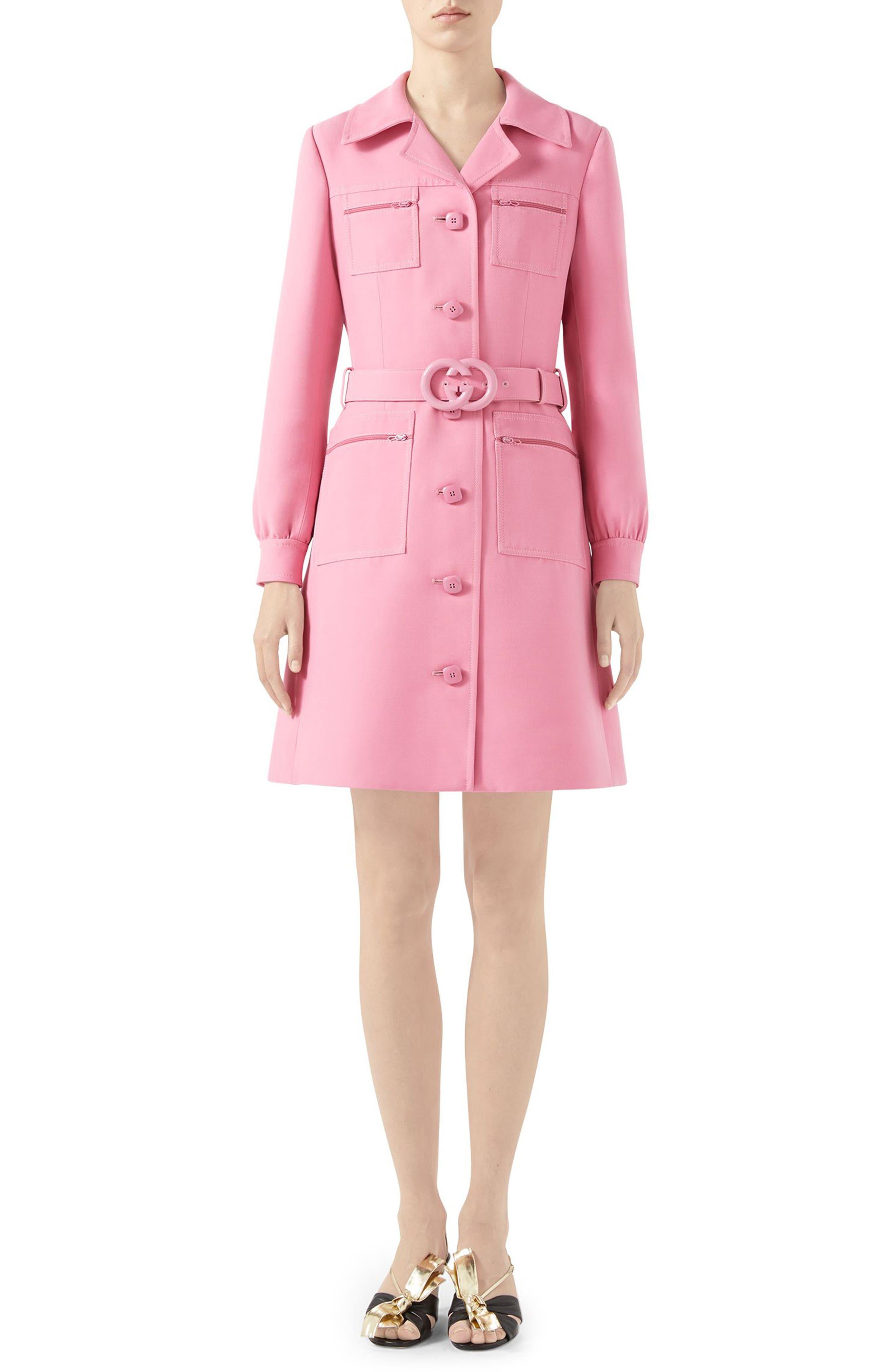 82c3378f31 Gucci Belted Cady Crepe Dress Coat, US / 40 IT - Pink