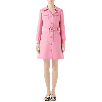 Gucci Belted Cady Crepe Dress Coat, US / 44 IT - Pink