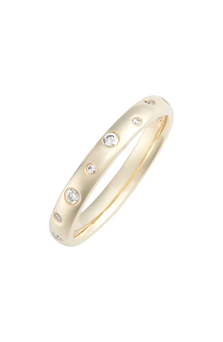 EF COLLECTION Diamond Speckled Stacking Ring, Main, color, YELLOW GOLD