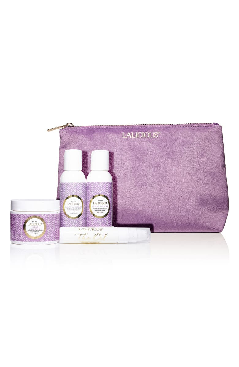 LALICIOUS Sugar Lavender Cleanse, Exfoliate & Moisturize Travel Set, Main, color, NO COLOR