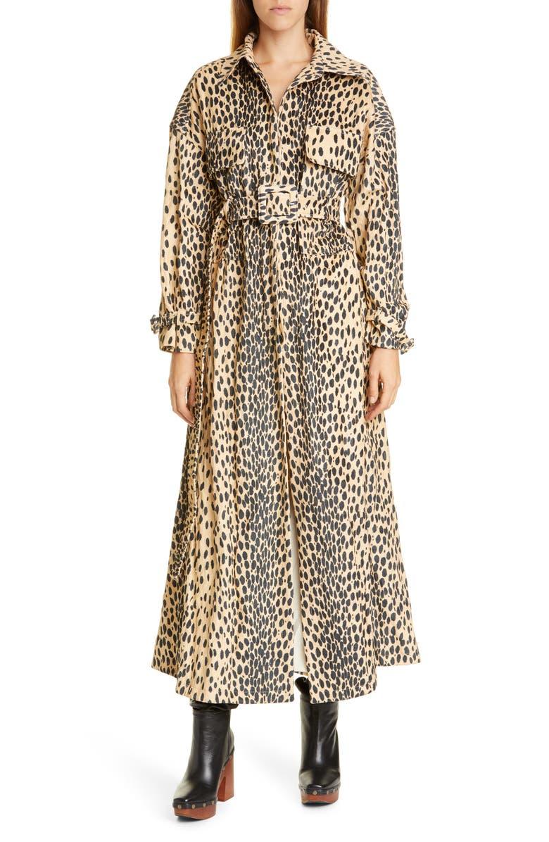 JACQUEMUS Le Manteau Thika Leopard Print Trench Coat, Main, color, 200