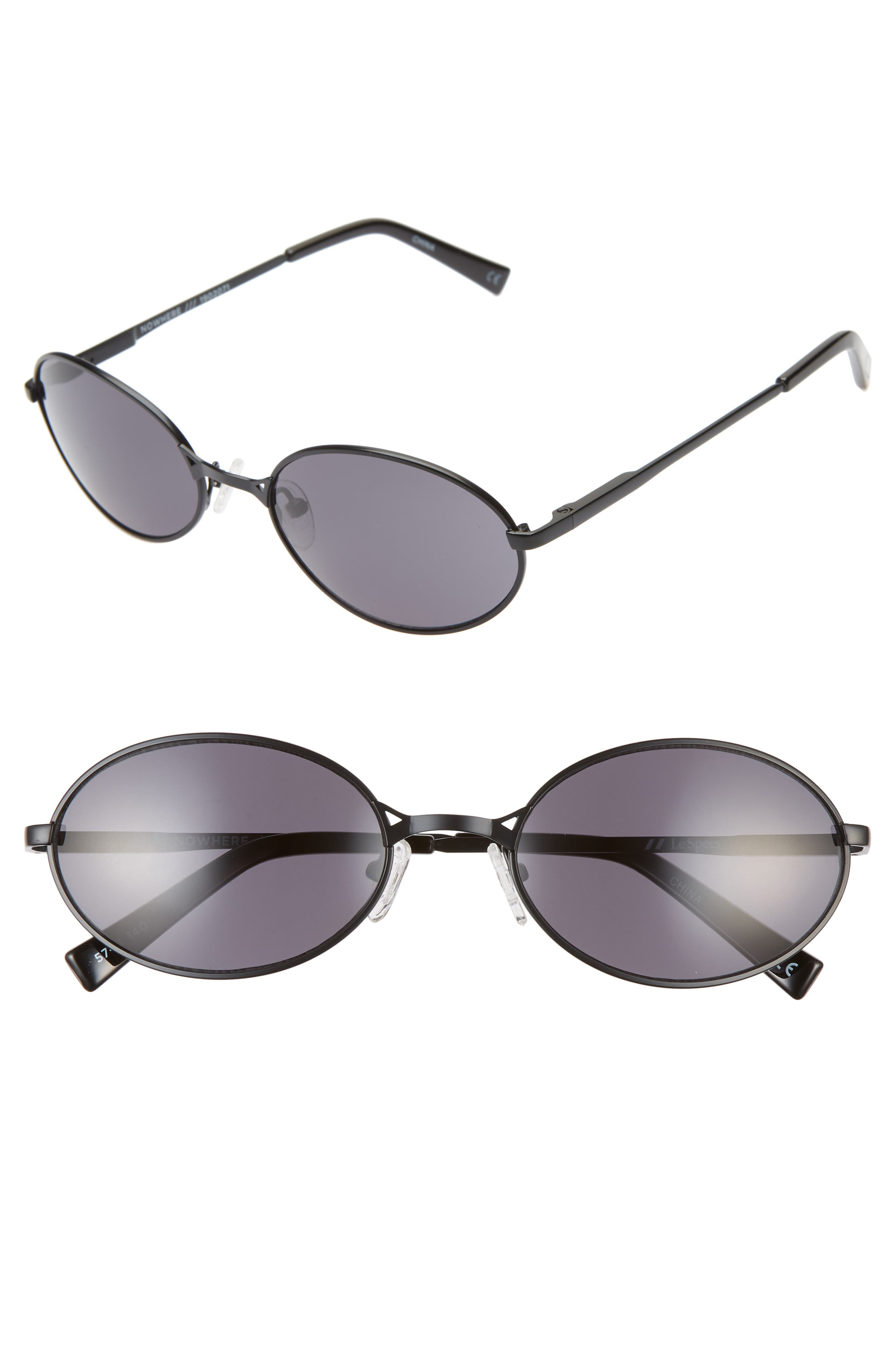 Le Specs Nowhere Rund 57Mm Oval Sunglasses - Matte Black/ Smoke