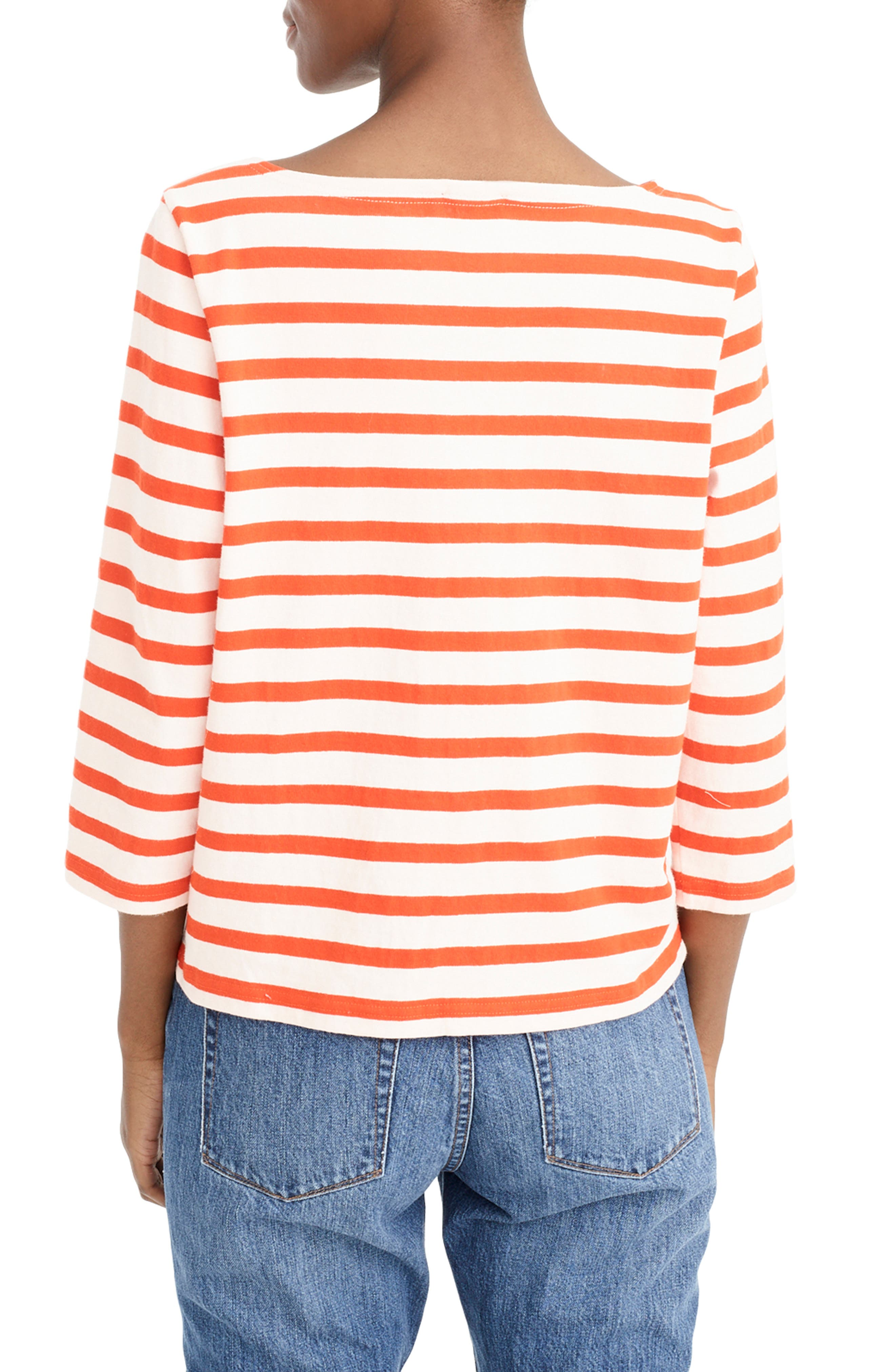,                             Structured Stripe Tee,                             Alternate thumbnail 2, color,                             SUBTLE PINK RED