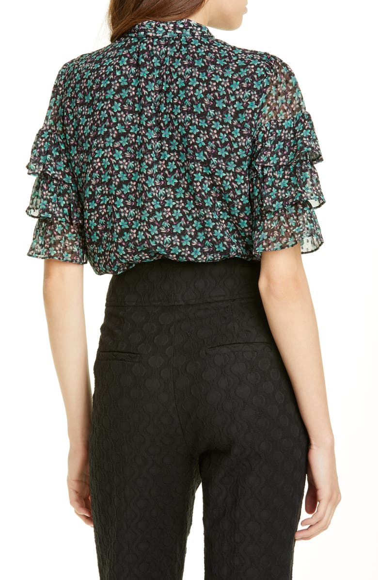 REBECCA TAYLOR Louisa Floral Print Ruffle Blouse, Main, color, BLACK COMBO